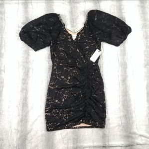 SAYLOR Black Lace Puff Sleeve Ruched Formal Dress